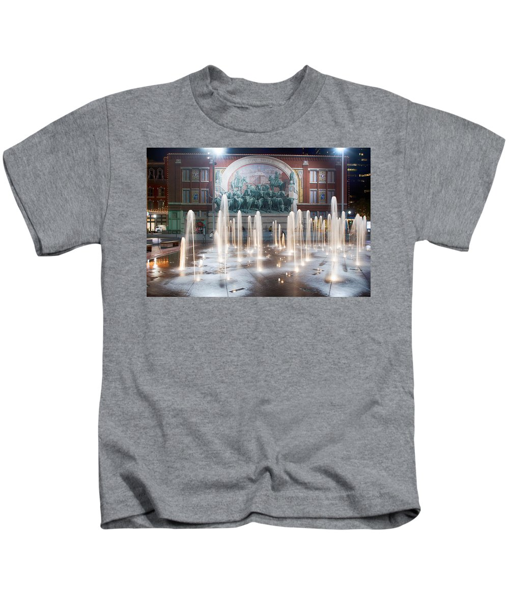 : Fort Worth Photographs Photographs Kids T-Shirt featuring the photograph Fort Worth Sundance Square Aug 2014 by Rospotte Photography