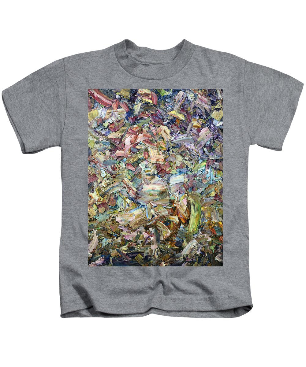 Abstract Kids T-Shirt featuring the painting Roadside Fragmentation by James W Johnson
