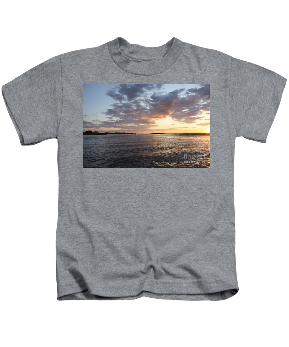 Freeport Cloudy Summertime Sunset Kids T-Shirt featuring the photograph Freeport Cloudy Summertime Sunset by John Telfer