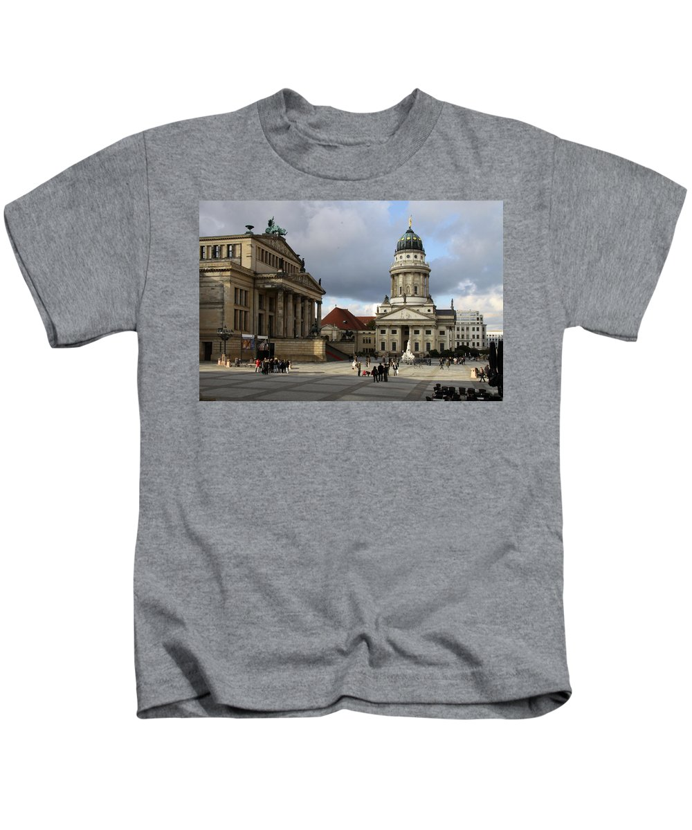 Cathedral Kids T-Shirt featuring the photograph French Cathedral And Concert Hall - Berlin by Christiane Schulze Art And Photography