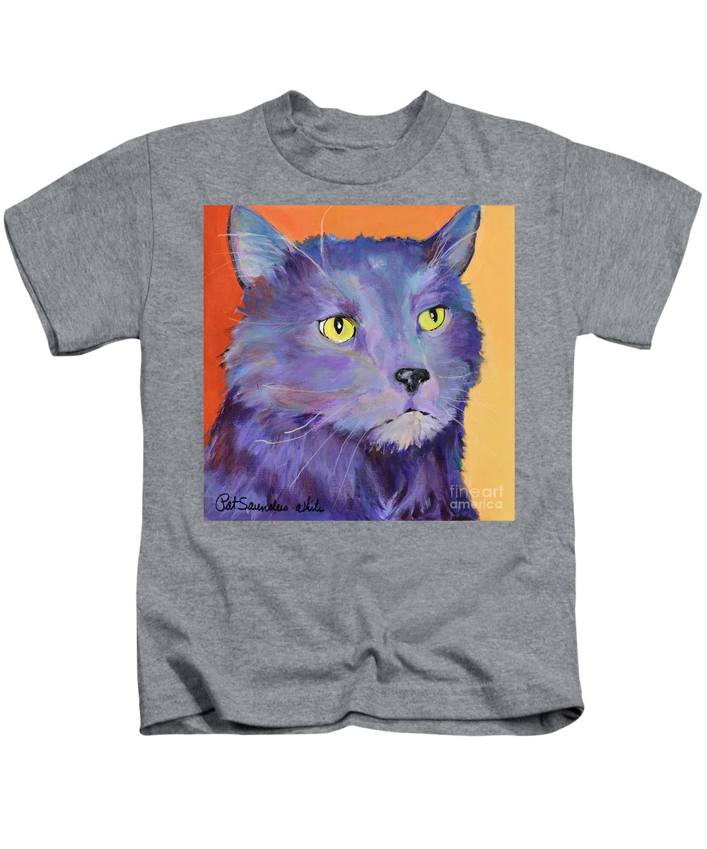 Feline Kids T-Shirt featuring the painting Frenchy by Pat Saunders-White