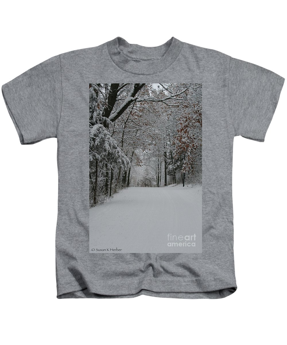 Outdoors Kids T-Shirt featuring the photograph Fresh Snow by Susan Herber