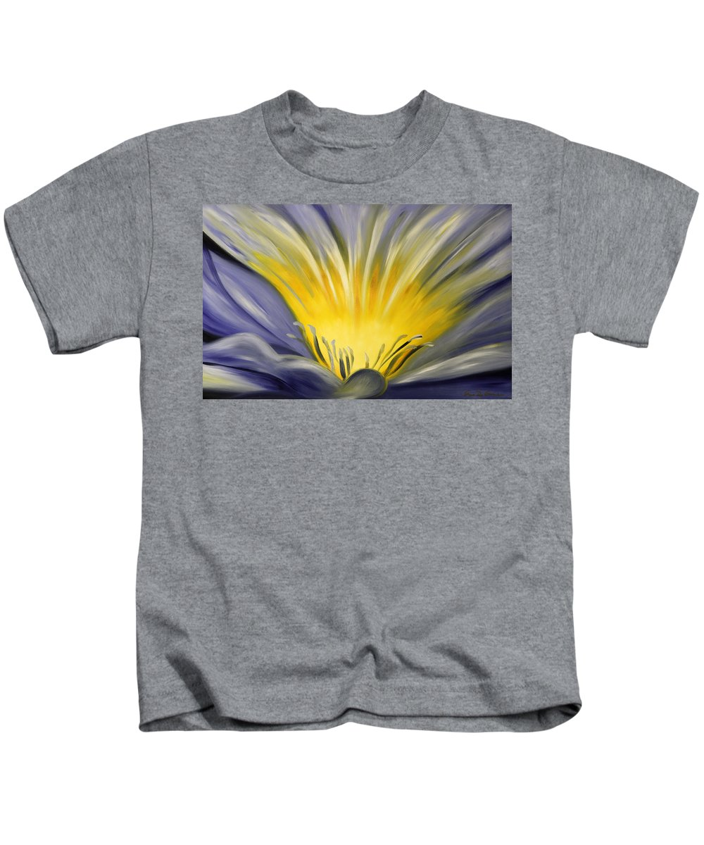 Blue Kids T-Shirt featuring the painting From The Heart Of A Flower Blue by Gina De Gorna