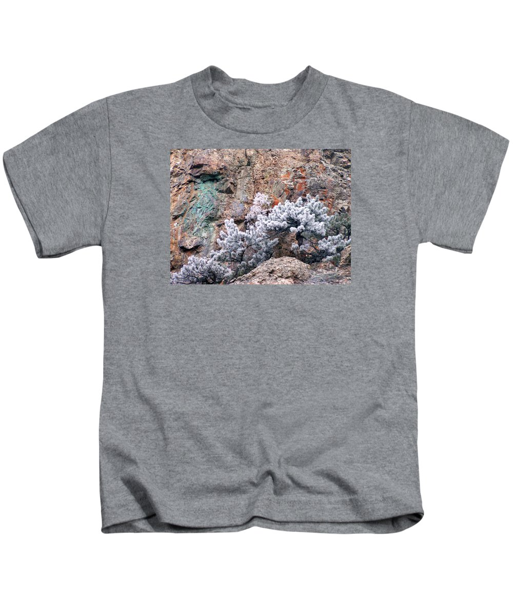 Cooper Rock Tree Frost Boulder Colorado Rock Mountains Winter Colorful Rocks Kids T-Shirt featuring the photograph Frosted Trees by George Tuffy
