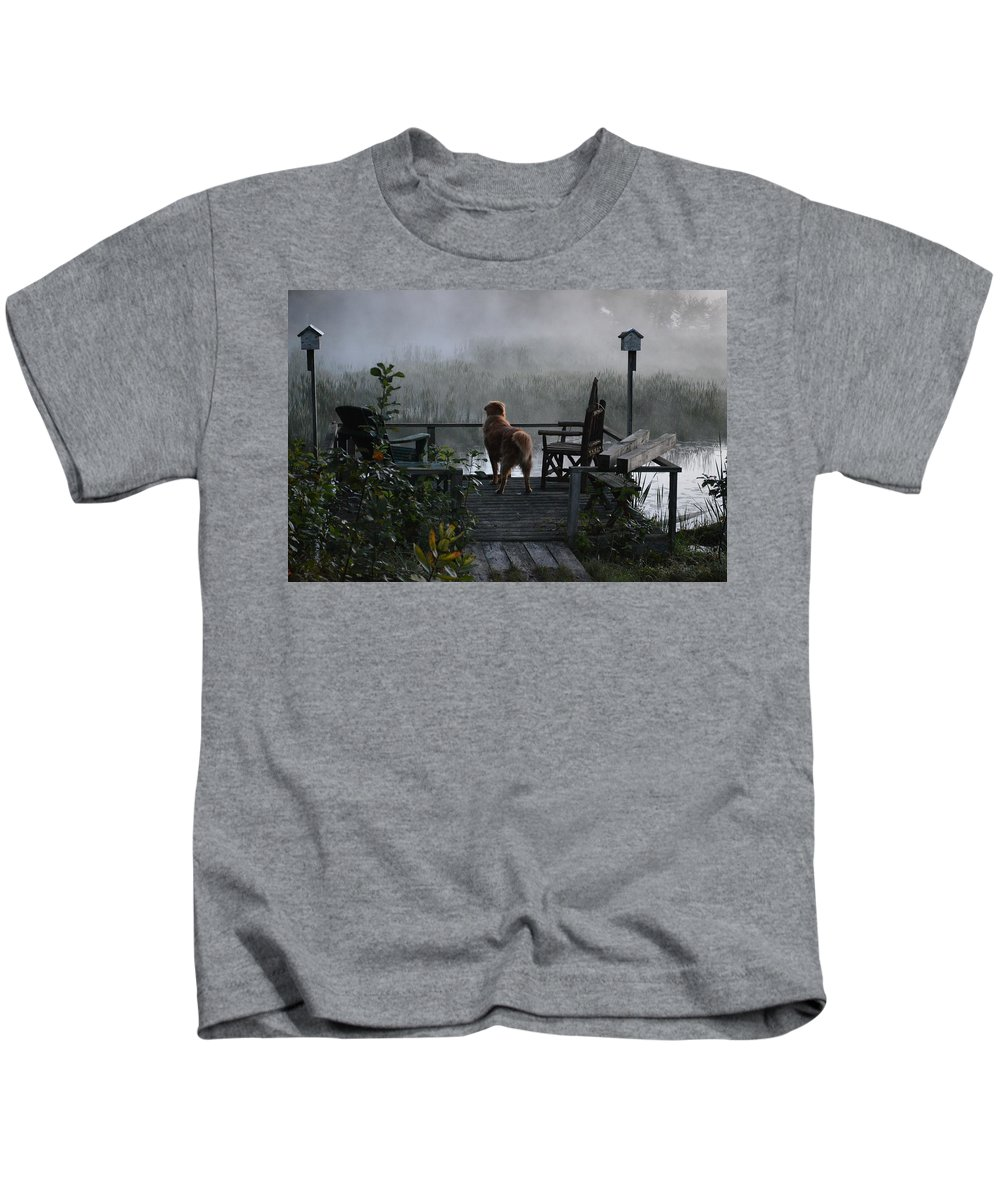 Fog Kids T-Shirt featuring the photograph Frosty Morning Golden by Thomas Phillips