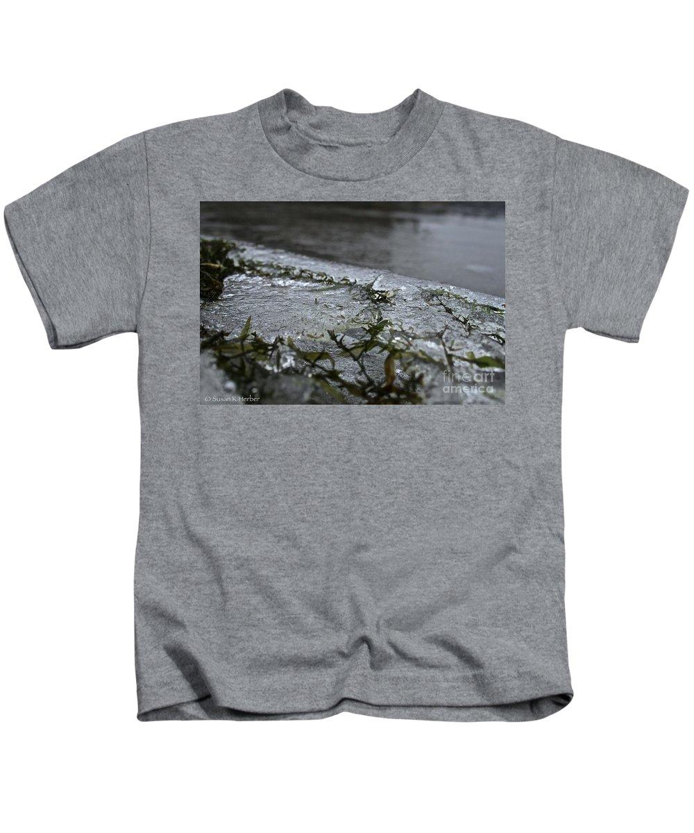 Outdoors Kids T-Shirt featuring the photograph Frozen Milfoil by Susan Herber