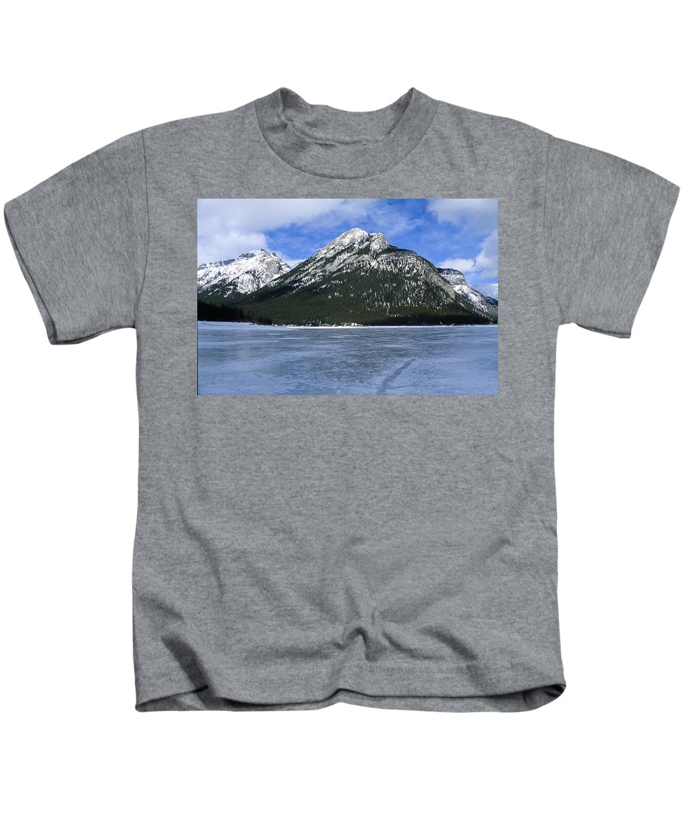 Lake Minnewanka Kids T-Shirt featuring the photograph Frozen Minnewanka by Roderick Bley
