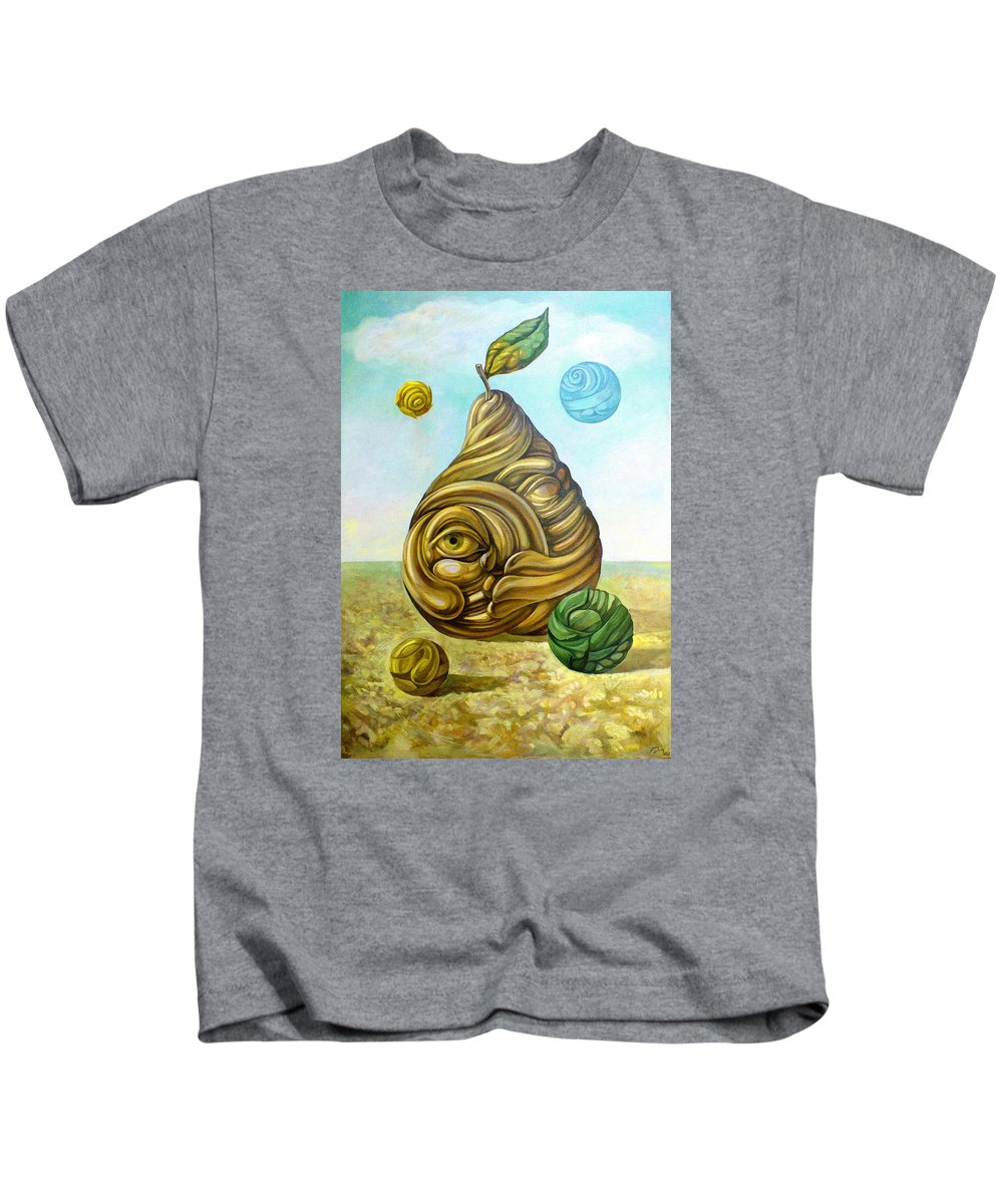 Pear Kids T-Shirt featuring the painting Fruit Of Knowledge by Filip Mihail
