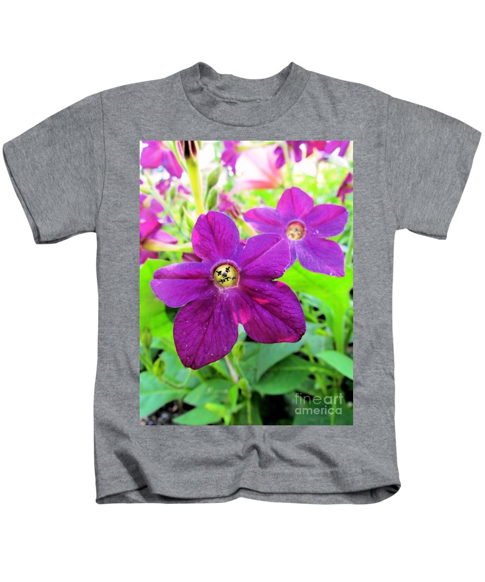 Flowers Kids T-Shirt featuring the photograph Funny Flower Faces by Elizabeth Dow