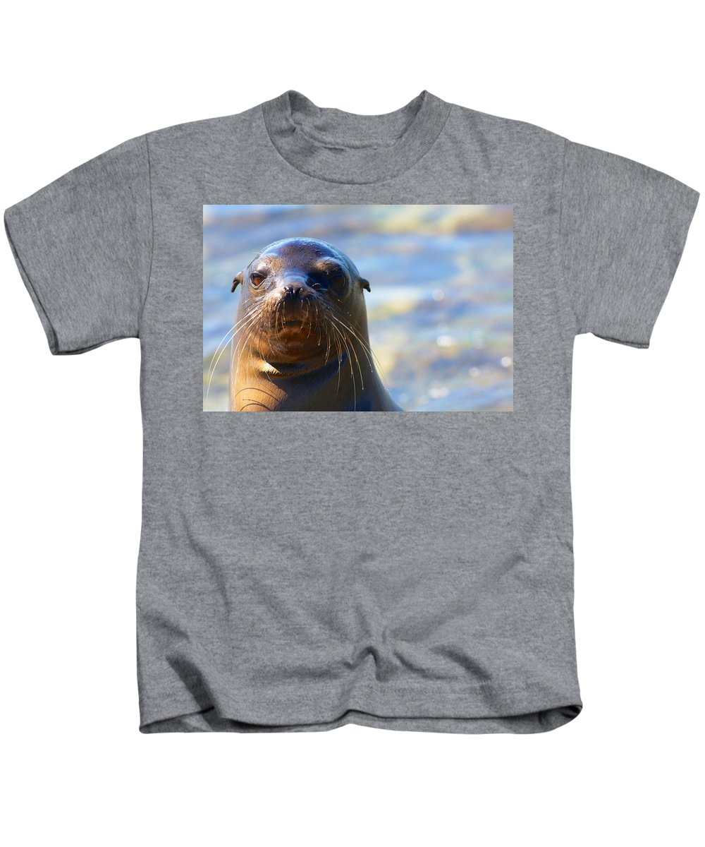 Galapagos Kids T-Shirt featuring the photograph Galapagos Sealion Portrait by Allan Morrison