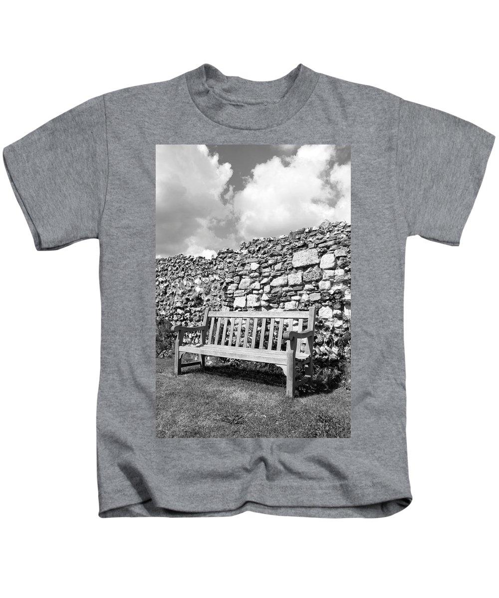 Garden Kids T-Shirt featuring the photograph Garden Bench by Chevy Fleet