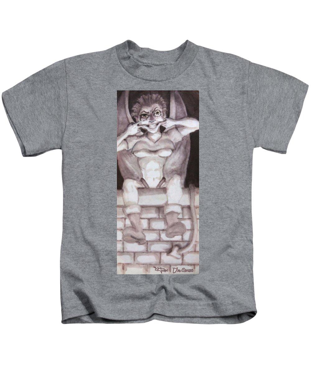 Gargoyle Kids T-Shirt featuring the drawing Garglin' Gar-goyle by Del Gaizo