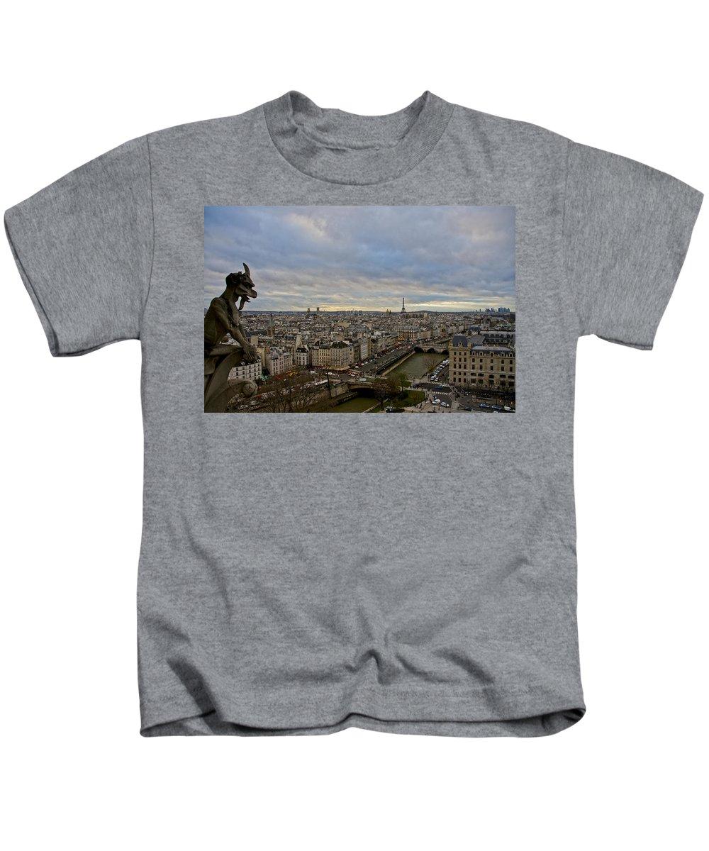 Eiffel Tower Kids T-Shirt featuring the photograph Gargoyle And The Eiffel Tower by Brian Kamprath