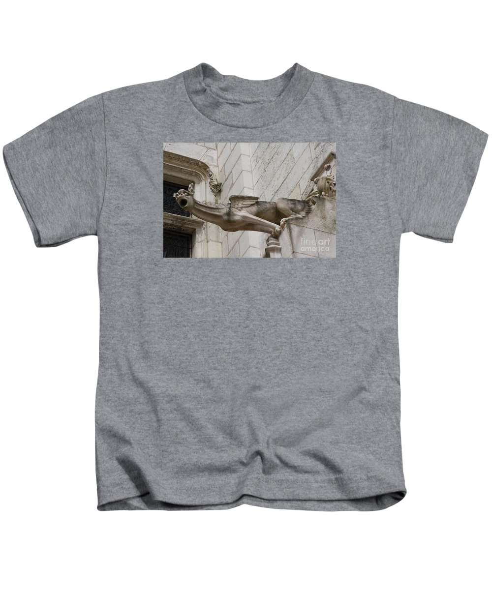 Gargole Kids T-Shirt featuring the photograph Gargoyle Cathedral Tours by Christiane Schulze Art And Photography