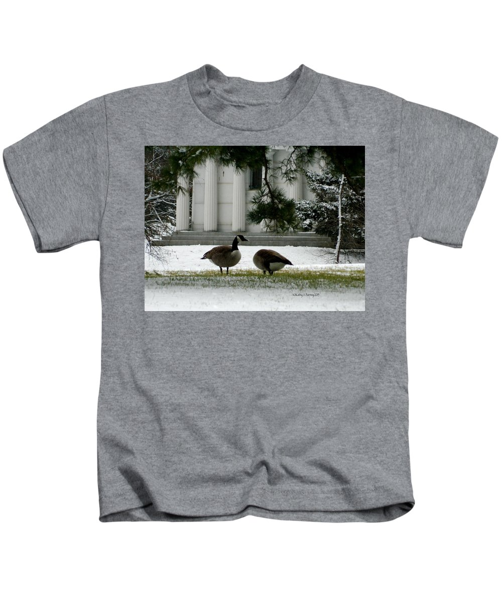 Geese Kids T-Shirt featuring the photograph Geese In Snow by Kathy Barney