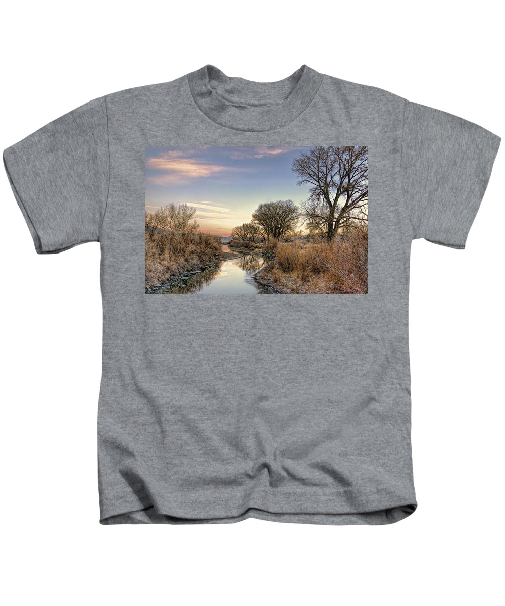 Background Kids T-Shirt featuring the photograph Genoa Canal by Maria Coulson