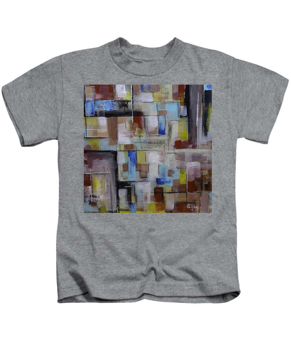 Patchwork Art Kids T-Shirt featuring the painting Geometric Modern Painting Original On Canvas by Gray Artus