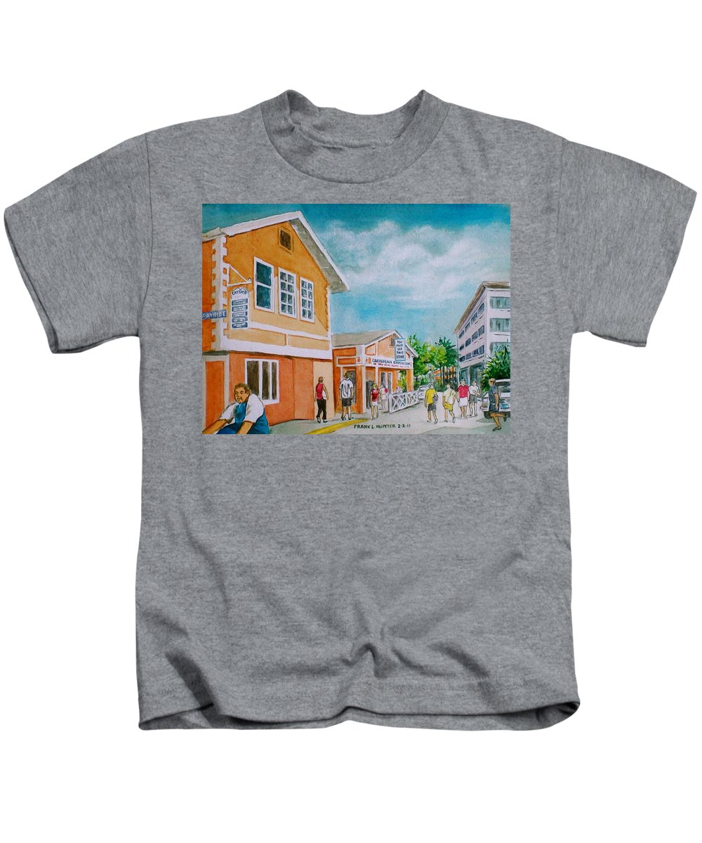 Georgetown Grand Cayman Man Bike Orange Street Tourists Kids T-Shirt featuring the painting Georgetown Grand Cayman by Frank Hunter