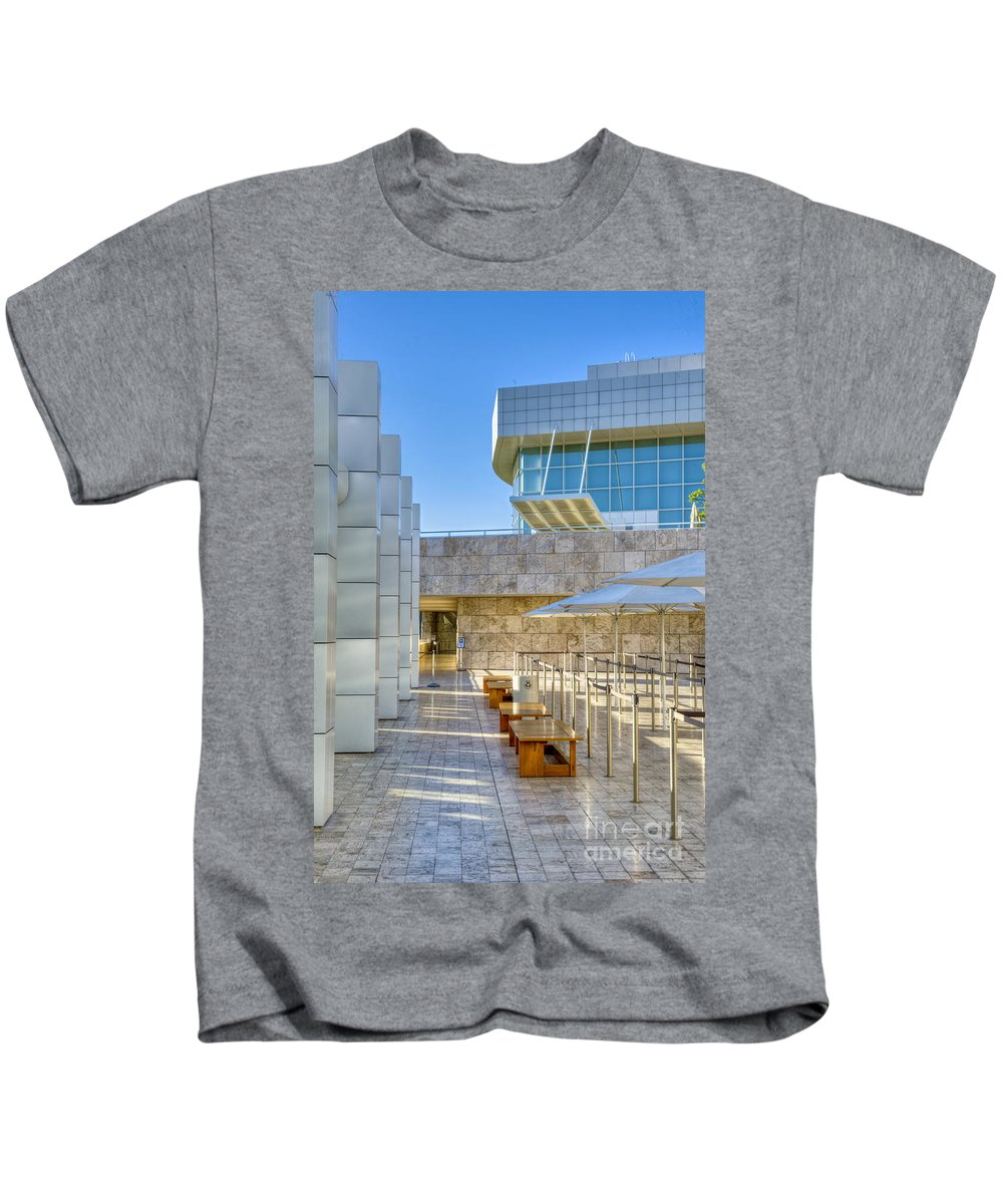 Getty Center Kids T-Shirt featuring the photograph Getty Center Tram Waiting Area Brentwood Ca by David Zanzinger