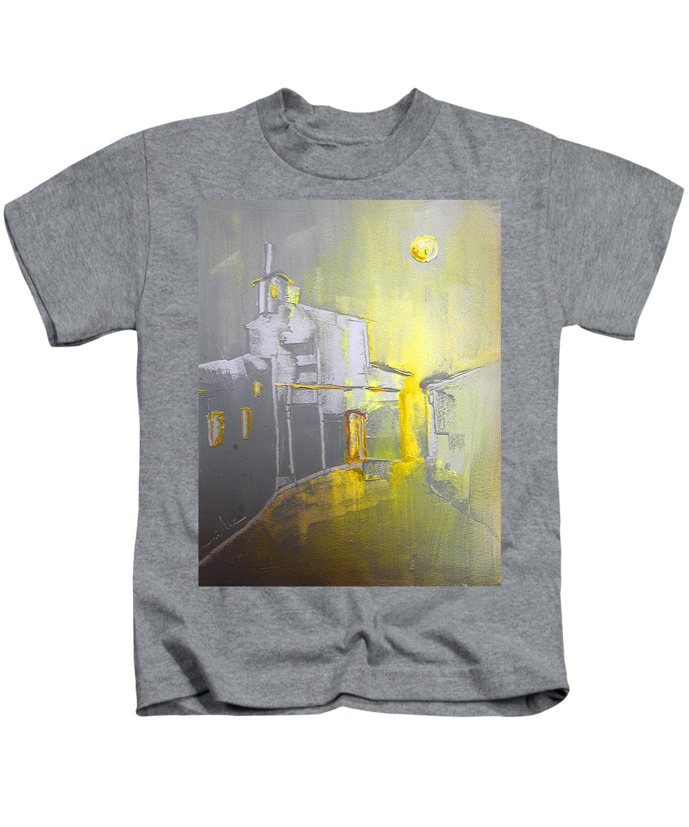 Ghost Town Kids T-Shirt featuring the painting Ghost Town In Spain by Miki De Goodaboom