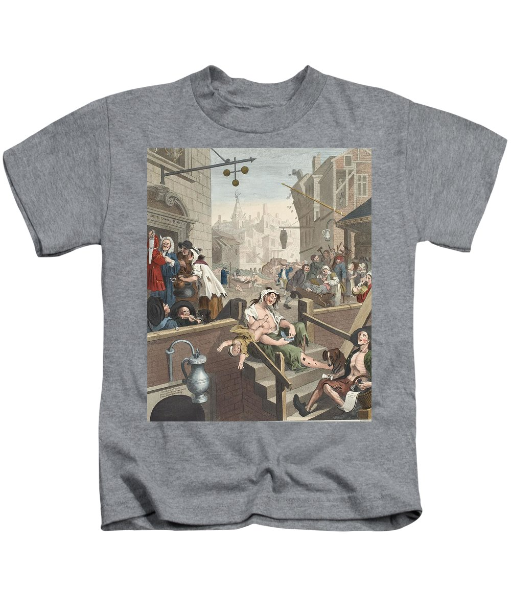 Misery Kids T-Shirt featuring the drawing Gin Lane, Illustration From Hogarth by William Hogarth