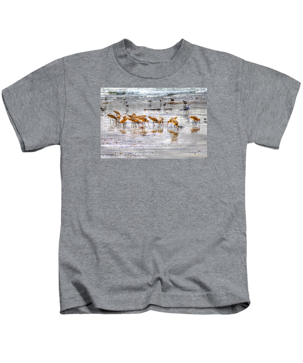 Godwits Kids T-Shirt featuring the photograph Godwits At San Elijo Beach by Dusty Wynne