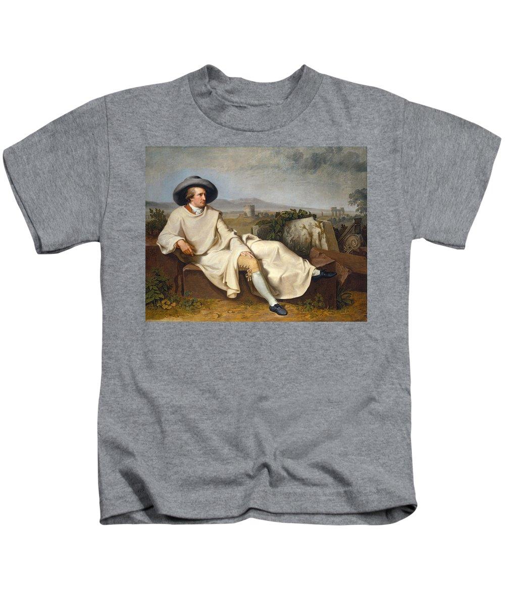 Johann Heinrich Wilhelm Tischbein Kids T-Shirt featuring the painting Goethe In The Roman Campagna by Johann Heinrich Wilhelm Tischbein