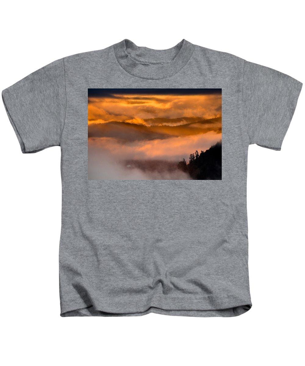 Dawn Kids T-Shirt featuring the photograph Golden Clouds by Greg Nyquist