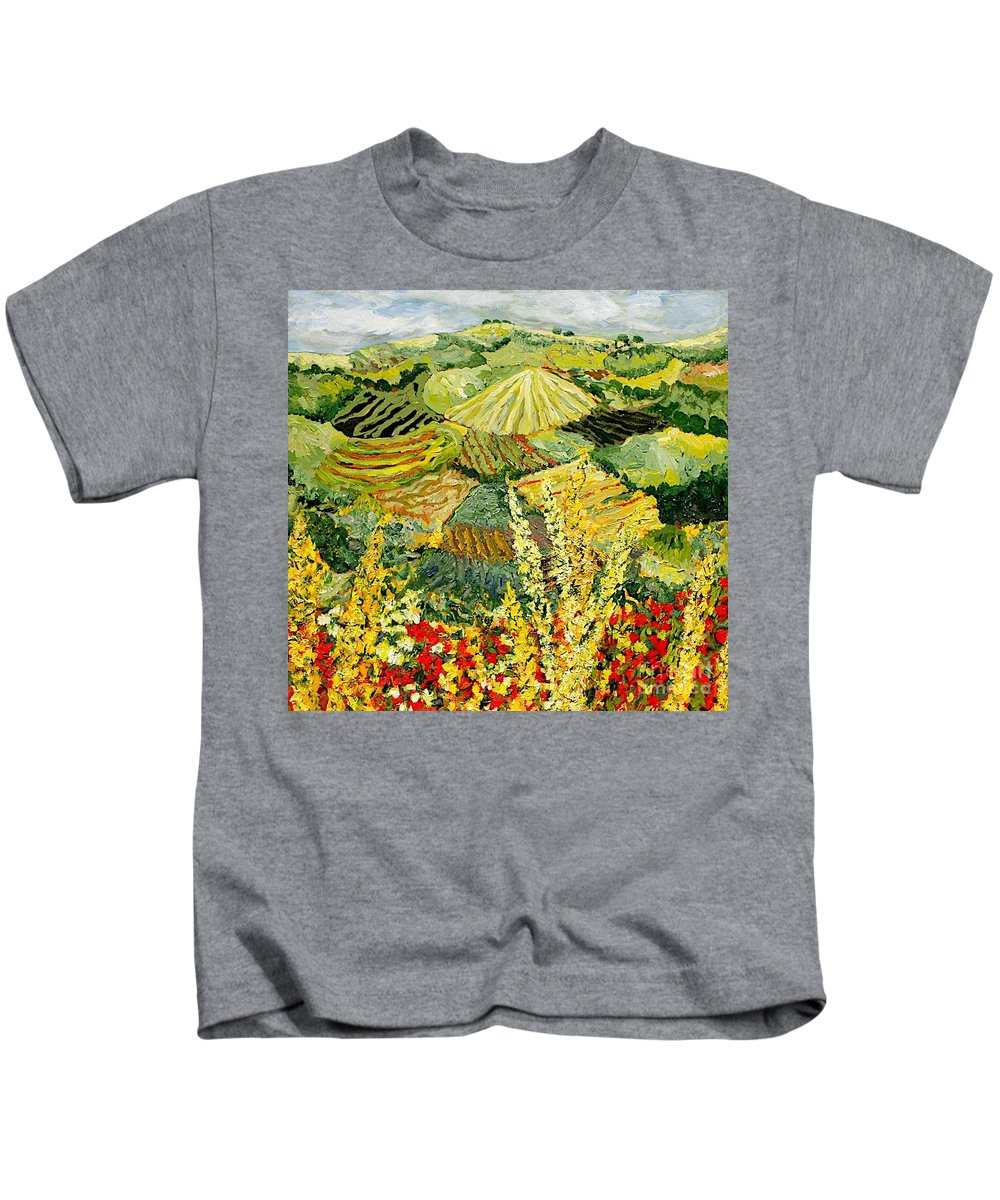 Landscape Kids T-Shirt featuring the painting Golden Hedge by Allan P Friedlander