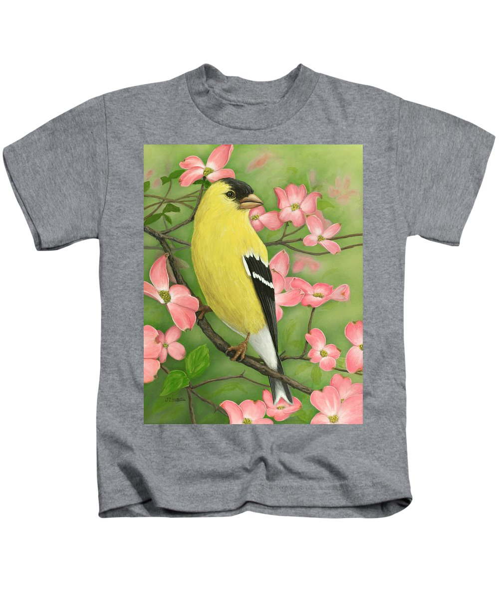 Bird Kids T-Shirt featuring the painting Goldfinch And Dogwood by Jim Ziemer