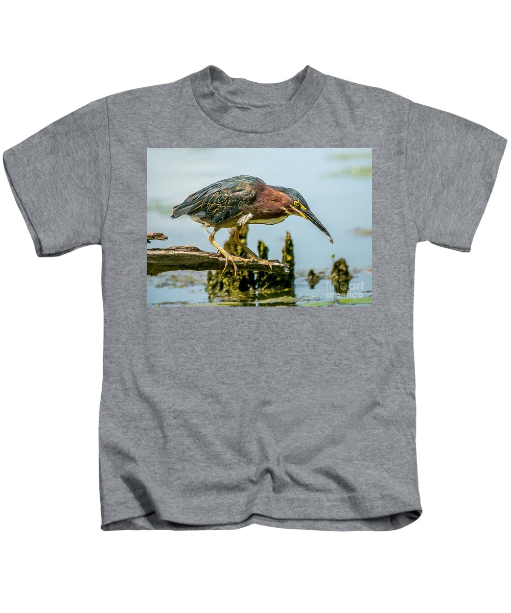 Green Feathers Kids T-Shirt featuring the photograph Good Green Fisher by Cheryl Baxter