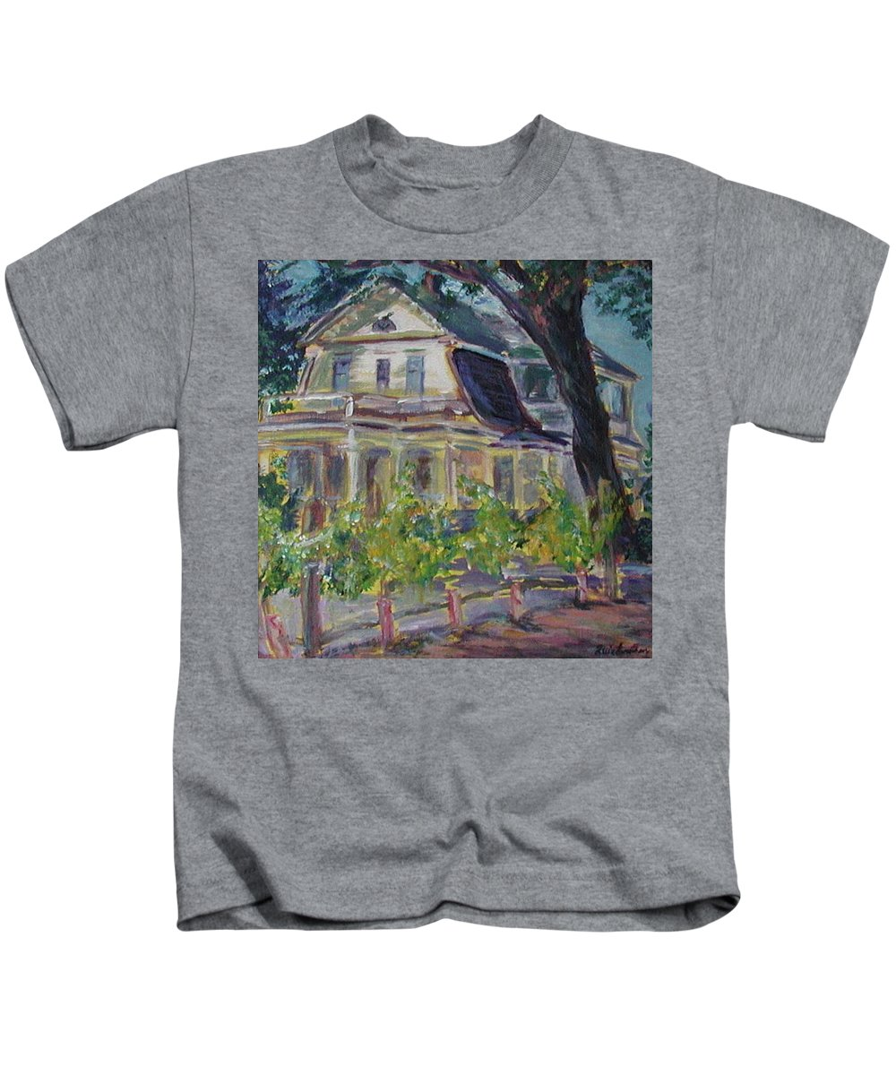 Quin Sweetman Kids T-Shirt featuring the painting Gorge White House by Quin Sweetman