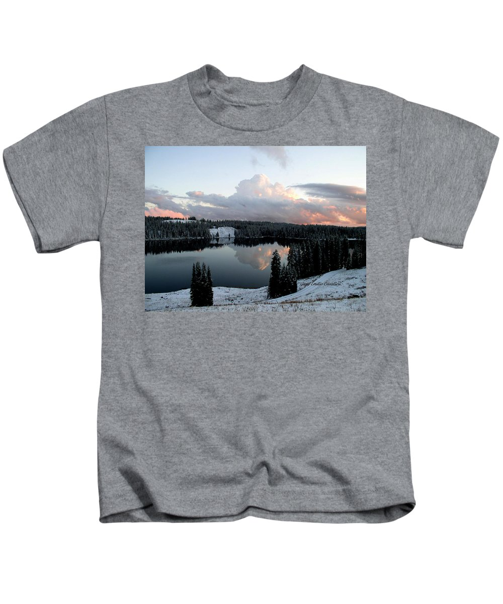 Clouds Kids T-Shirt featuring the photograph Grand Mesa Winter Lakes by Gary Emilio Cavalieri