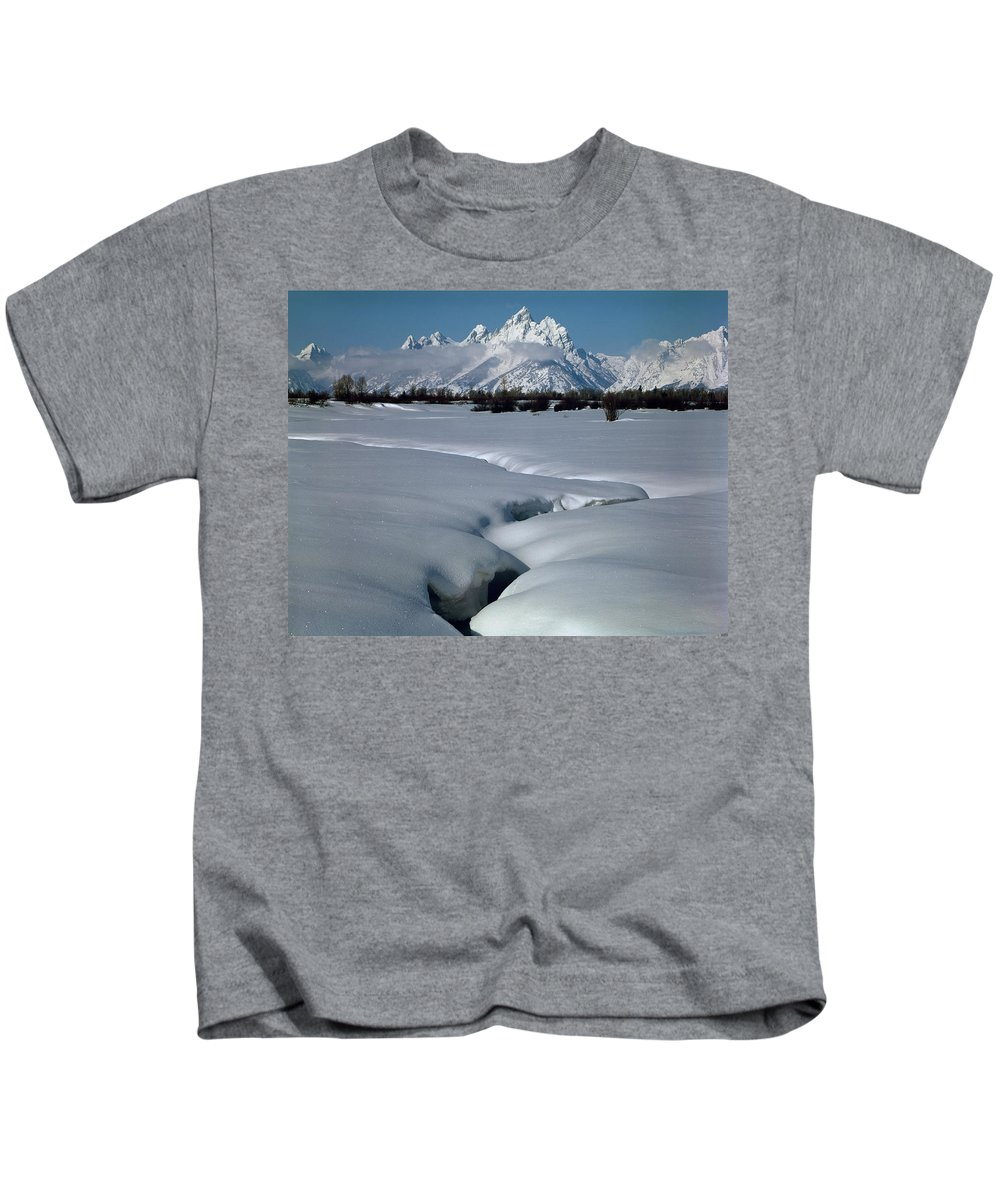 Jackson Hole Kids T-Shirt featuring the photograph 1m9304-grand Teton From Jackson Hole, Winter, H by Ed Cooper Photography
