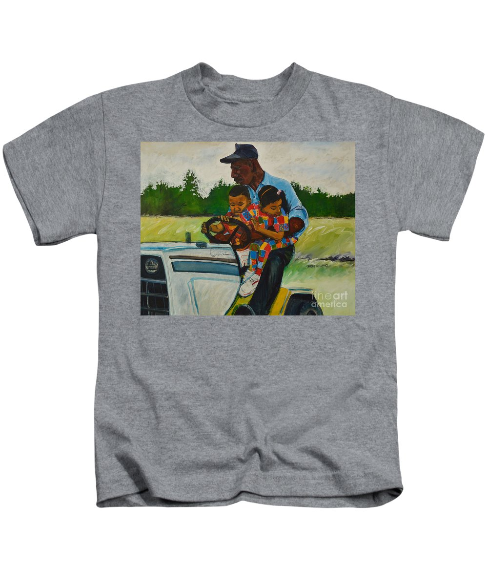 Playful Thoughts Kids T-Shirt featuring the painting Grandpas Helpers by Charles M Williams