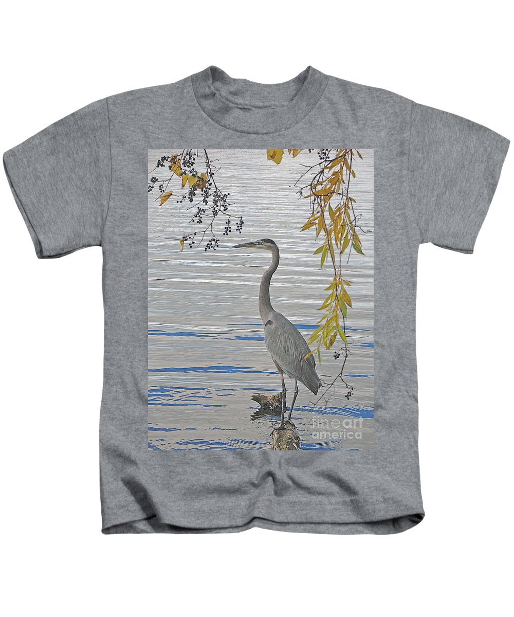Heron Kids T-Shirt featuring the photograph Great Blue Heron by Ann Horn