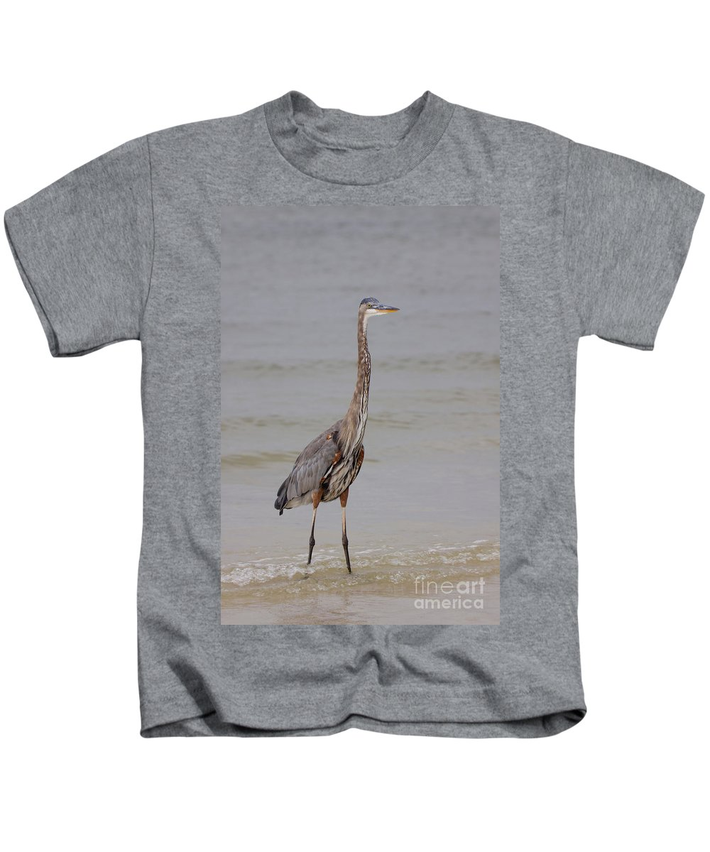 Great Blue Heron Kids T-Shirt featuring the photograph Great Blue by Rick Kuperberg Sr