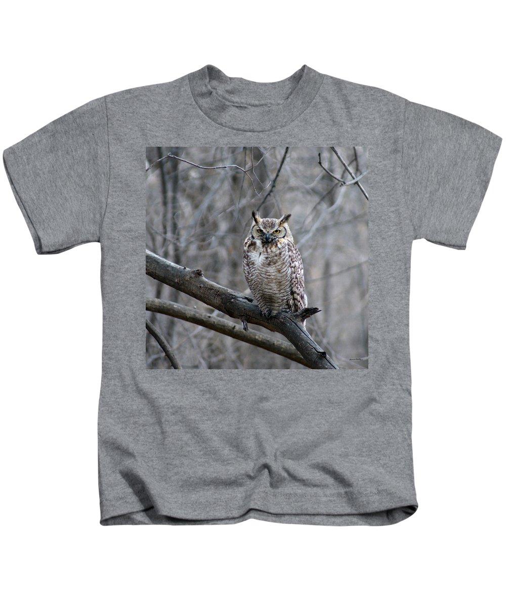 Birds Kids T-Shirt featuring the digital art Great Horned Owl by Ernie Echols