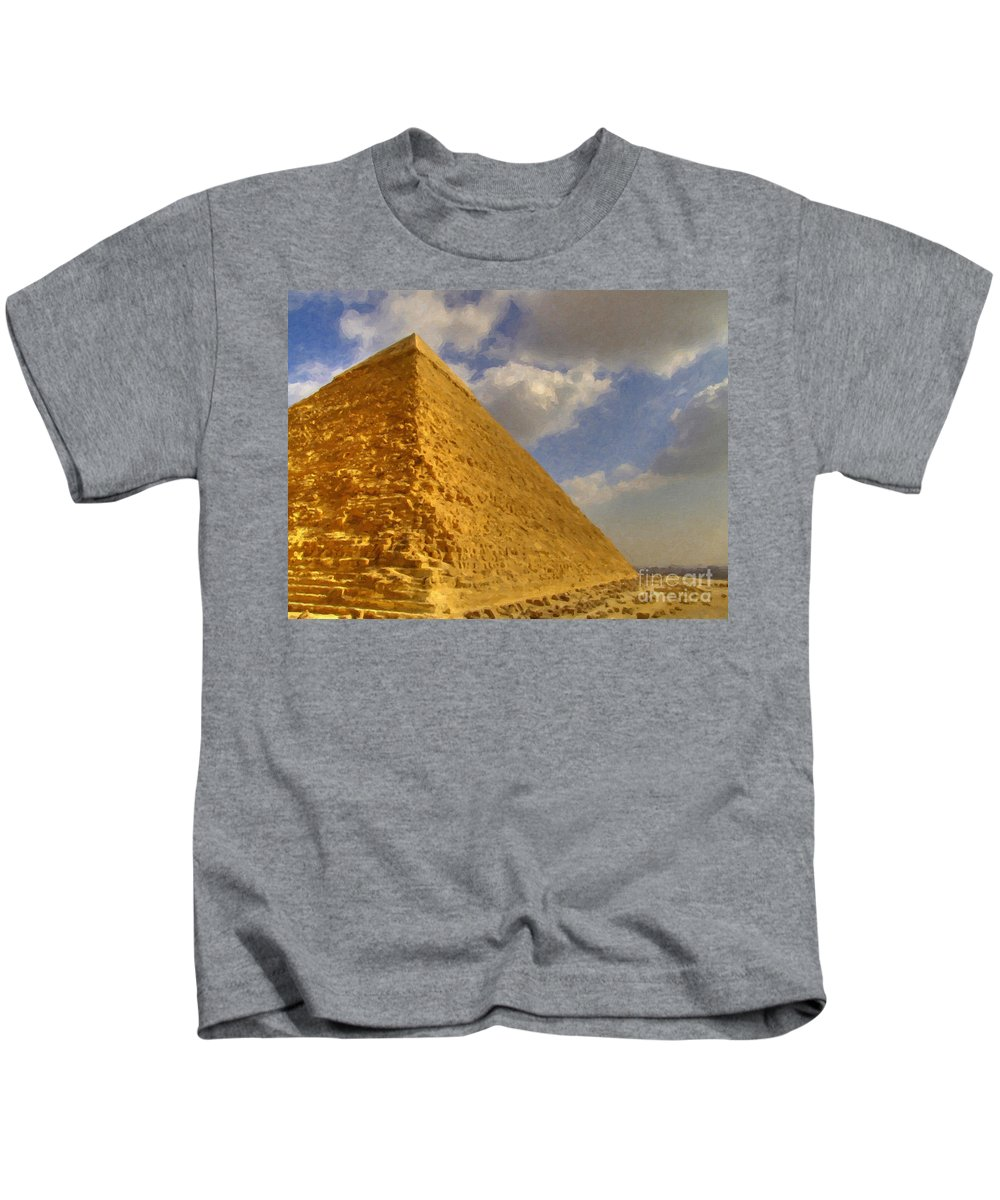 Painting Kids T-Shirt featuring the painting Great Pyramid Painting by Antony McAulay