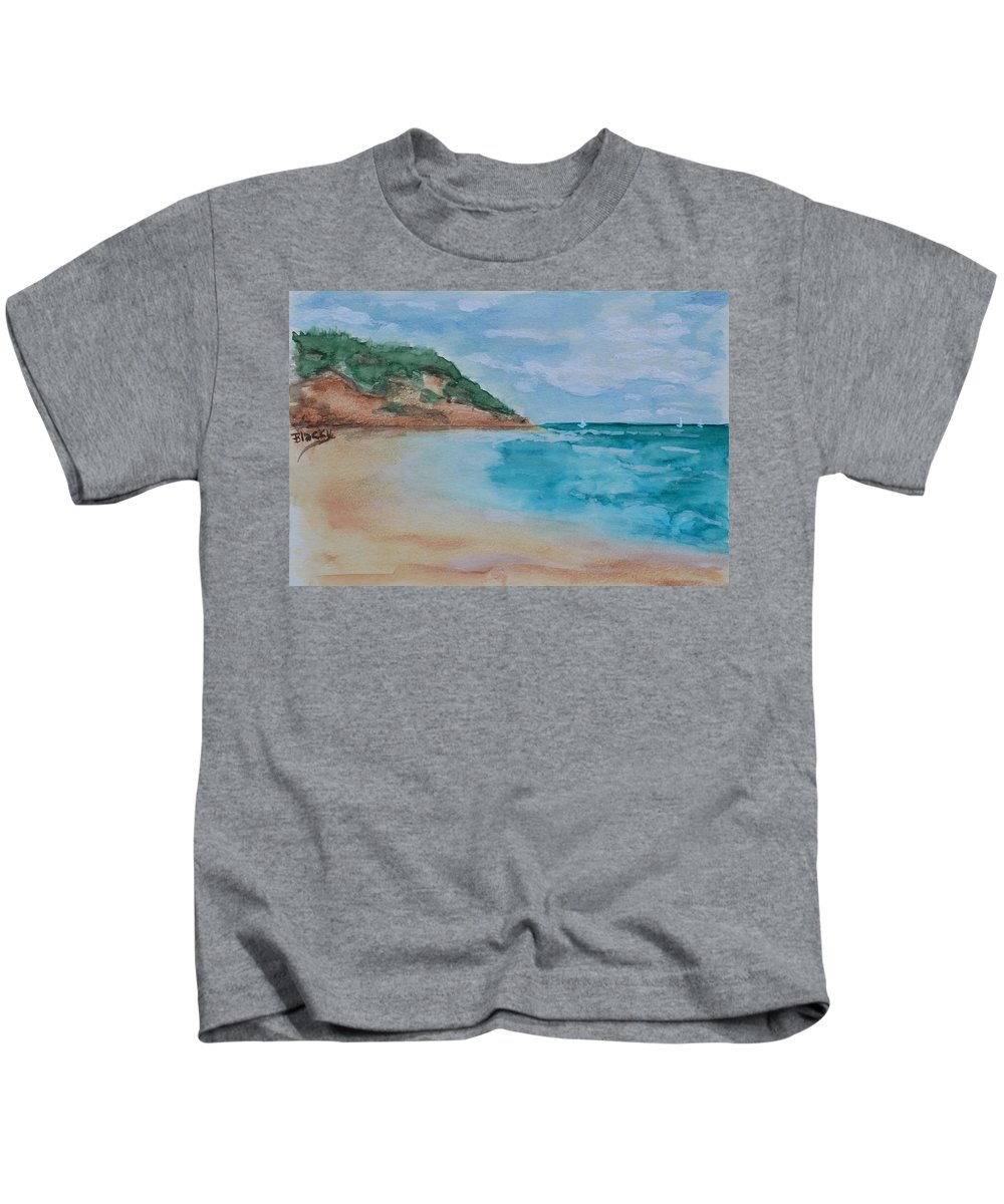 Sea Kids T-Shirt featuring the painting Grecian Sea by Donna Blackhall