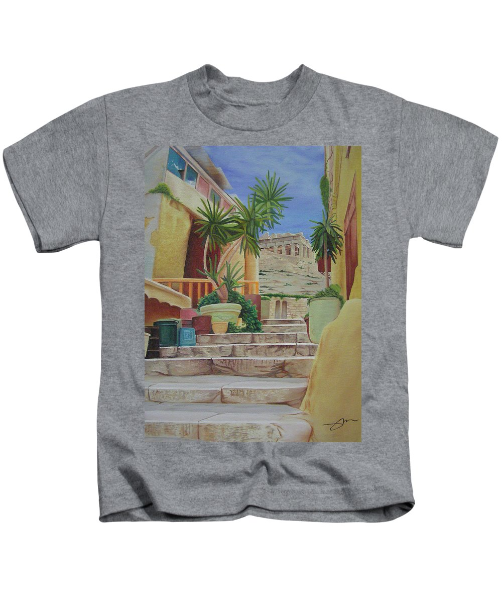 Greece Kids T-Shirt featuring the painting Greece by Joshua Morton