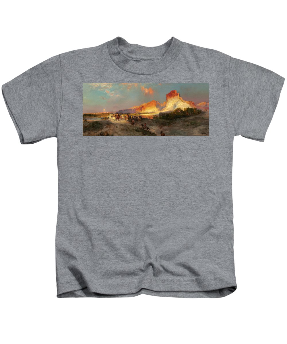 Landscape; Wild; West; Horse; Sunset; Mountains; Panorama; Natives; American; Indian; Horses; Riding; Native Kids T-Shirt featuring the painting Green River Cliffs Wyoming by Thomas Moran