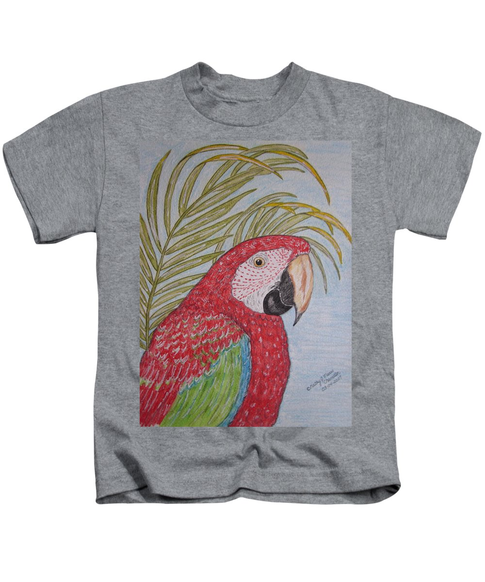 Green Wing Macaw Kids T-Shirt featuring the painting Green Winged Macaw by Kathy Marrs Chandler