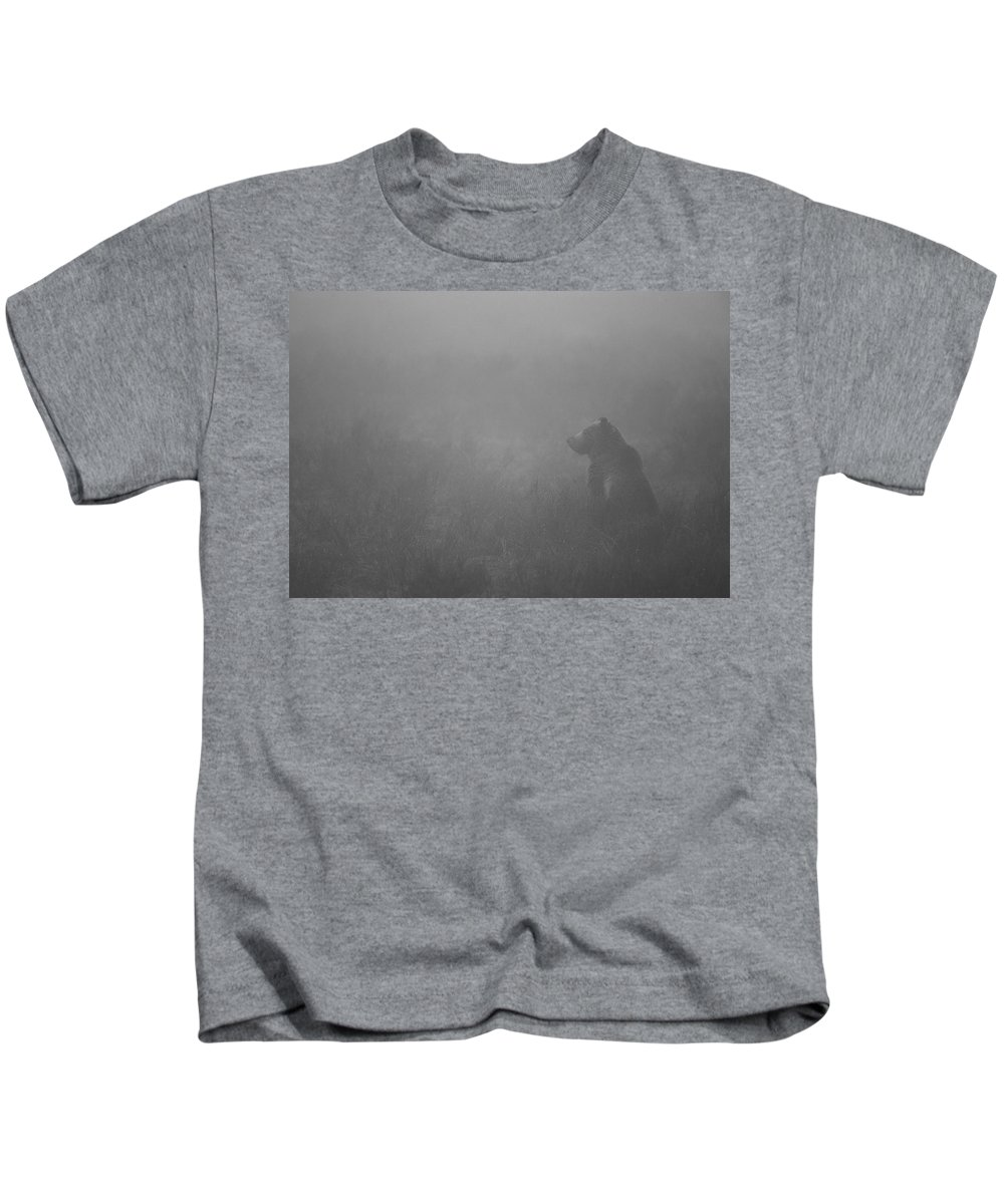 Grizzly Bear Kids T-Shirt featuring the photograph Grizzly In Fog by Max Waugh