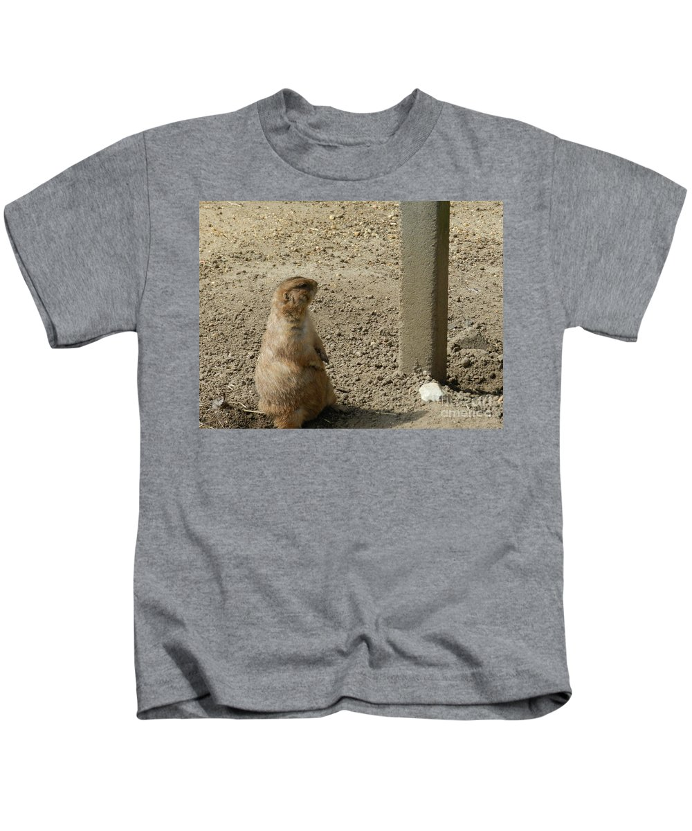 Groundhog Kids T-Shirt featuring the photograph Groundhog With Shadow by Heather Jane