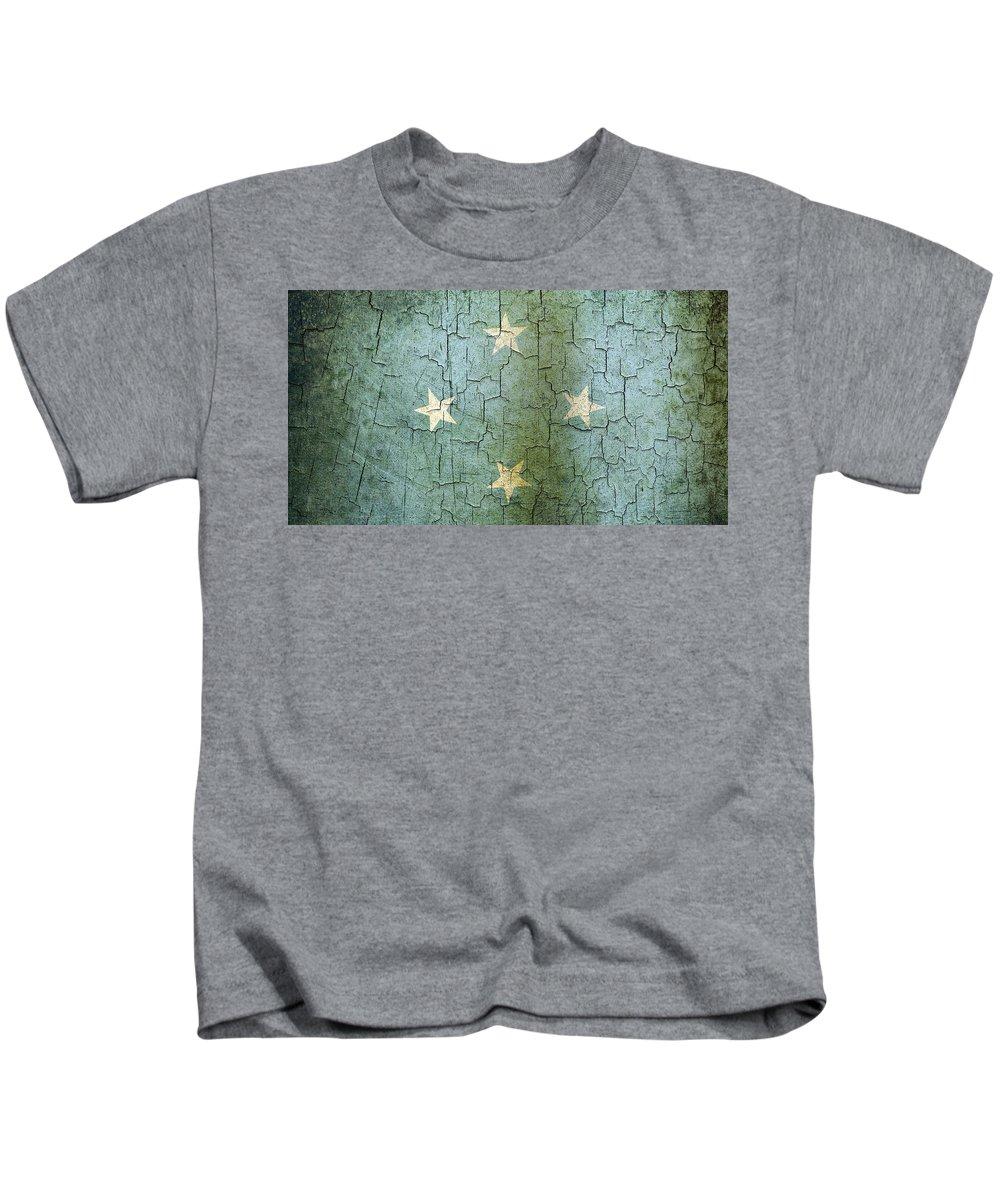Aged Kids T-Shirt featuring the digital art Grunge Micronesia Flag by Steve Ball