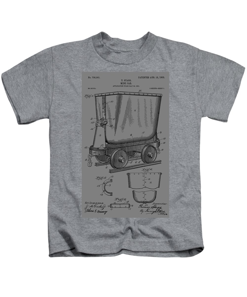 Antique Mining Trolley Patent Kids T-Shirt featuring the digital art Grunge Mine Trolley Patent by Dan Sproul