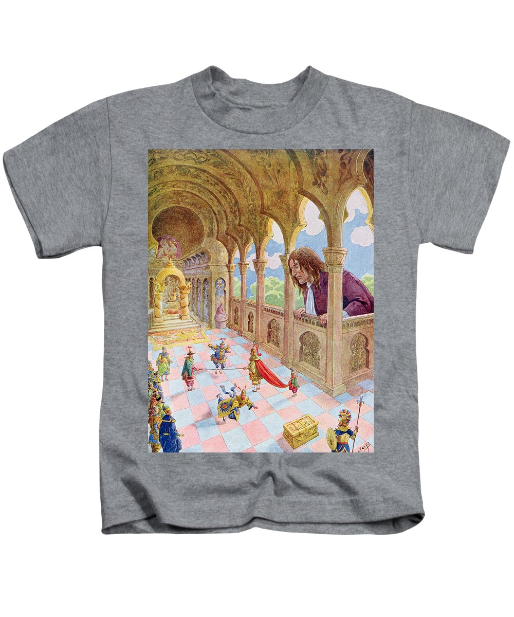 Childrens' Book Kids T-Shirt featuring the painting Gulliver At Lilliput by Jacques Onfray de Breville