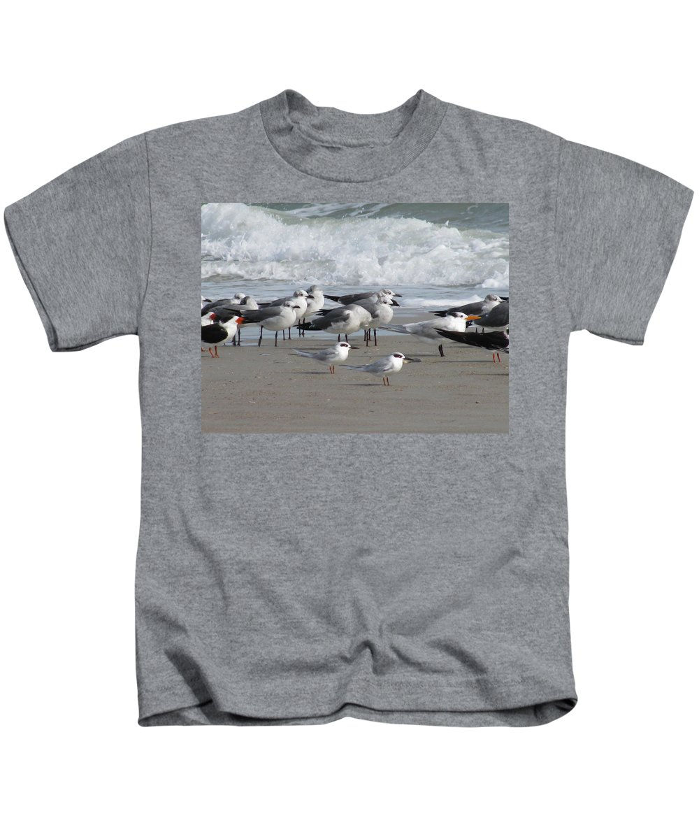 Landscape Kids T-Shirt featuring the photograph Gulls Terns Skimmers by Ellen Meakin