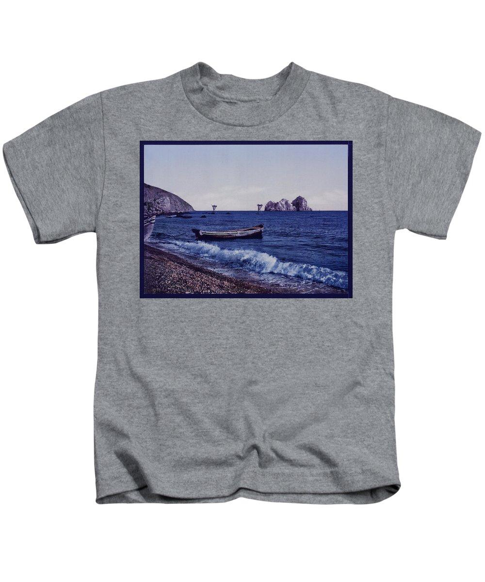 Gursuff Kids T-Shirt featuring the digital art Gursuff - Russian Shore by Lesa Fine